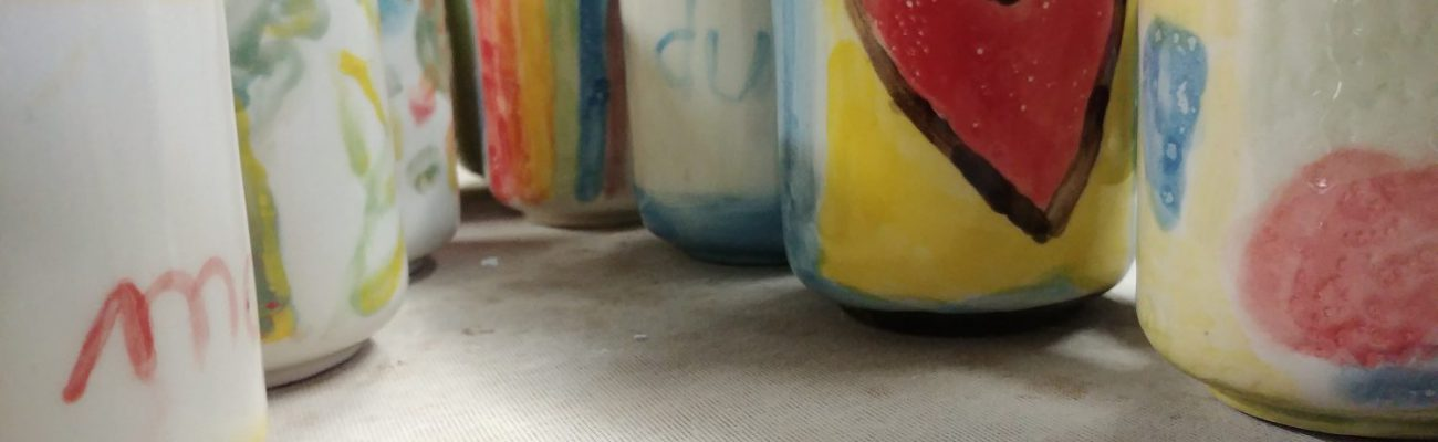 Kids party, colourful mugs underglaze
