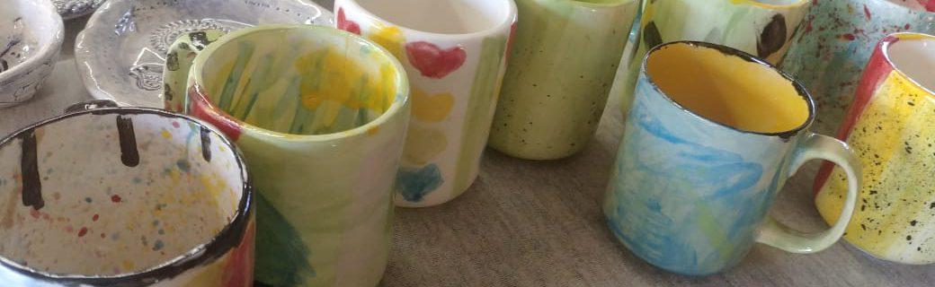 Ceramics, cast mugs, underglaze, transparent glaze